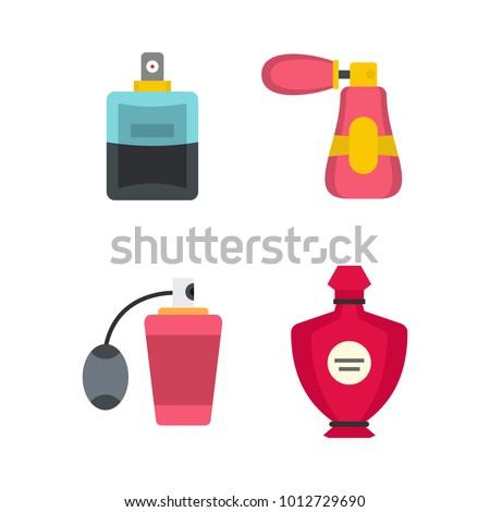 Perfume icon set. Flat set of perfume vector icons for web design isolated on white background