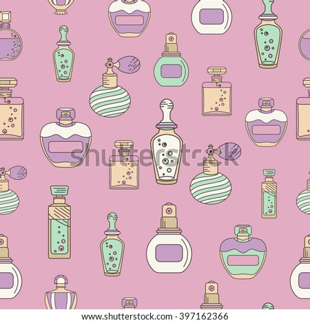Perfume seamless with outline perfume bottle icons. Can use for design wrapping paper packaging, scrap-booking, sites and perfume shops
