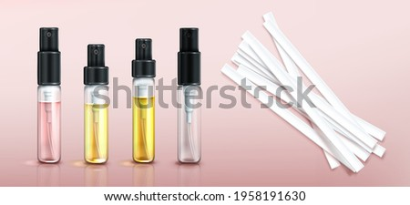 Perfume tester glass bottles and paper strips. Fragrance sample in transparent tubes with black spray cap on pink background. Vector realistic set of 3d perfumery testers and empty clear vial ストックフォト ©