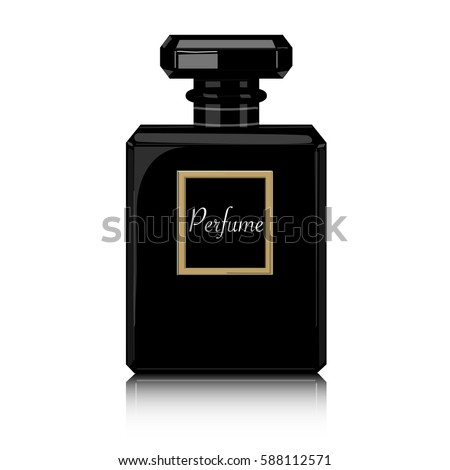 Perfume vector print. Black bottle haute couture, beauty stylish illustration. Aroma liquid. Cosmetic fragrance