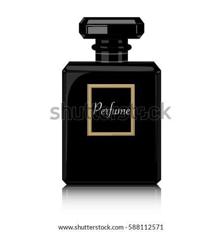 Perfume vector print. Black bottle haute couture, beauty stylish illustration. Aroma liquid. Cosmetic fragrance