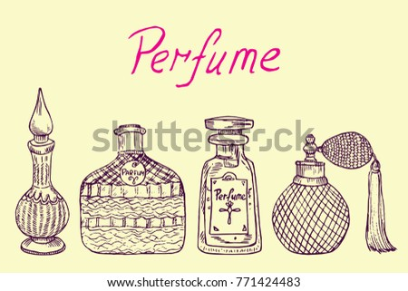 Perfume vintage collection of outline bottles from different countries (Arabic, German, French, American) with inscription, hand drawn doodle sketch, isolated vector color illustration