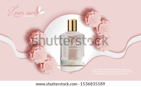 Perfume with rose and white-peach background-Flower Paper Cut Banner-Vector Illustration