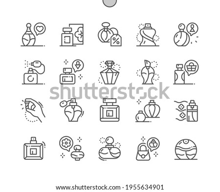 Perfume. Women's and man's perfume. Discount perfume. Aromatic, odor, freshness, cosmetic and perfumery. Pixel Perfect Vector Thin Line Icons. Simple Minimal Pictogram Foto stock ©
