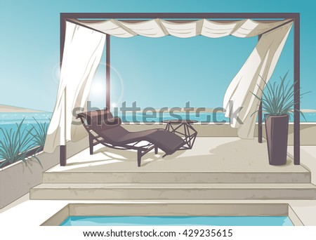 pergola with white curtains and