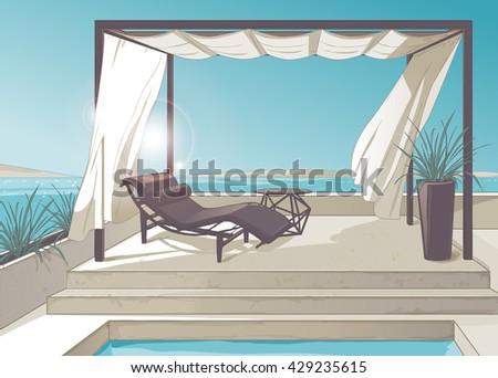 pergola with white curtains