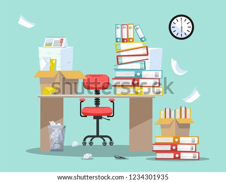 Period of accountants and financier reports submission. Office chair behind table with piles of paper documents and file folders in cardboard boxes on office table. Flat cartoon vector illustration