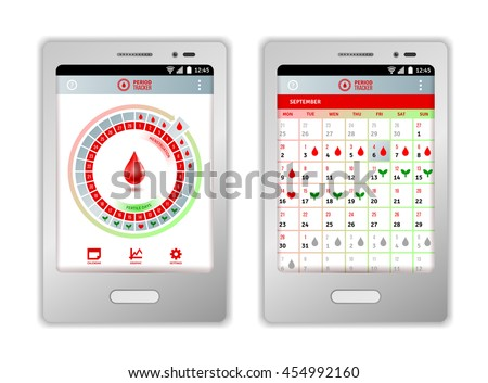Vector Images Illustrations And Cliparts Period Tracker Tablet Or