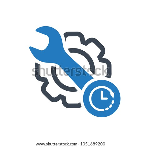 Periodic maintenance icon. Maintenance icon with clock sign. Maintenance icon and countdown, deadline, schedule, planning symbol. Maintenance, icon, schedule, vector, clock, install, machine, wrench,