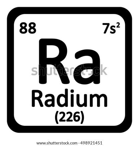 Periodic Table Element Radium Icon On White Background Vector