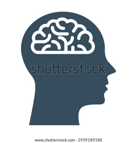 Peronal IQ - head with brain, intelligence and knowledge symbol Stock photo ©