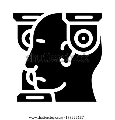 persecution mania problem glyph icon vector. persecution mania problem sign. isolated contour symbol black illustration Foto d'archivio ©