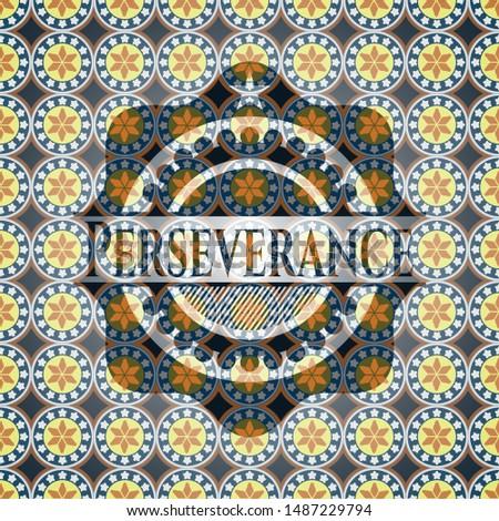 Perseverance arabesque emblem. arabic decoration.