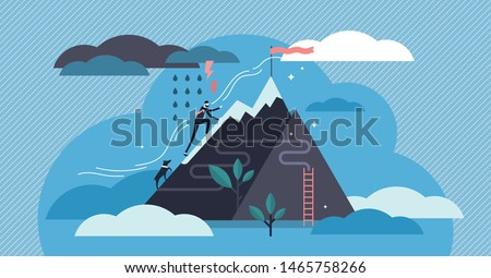 Perseverance vector illustration. Flat tiny motivational patience persons concept. Challenge to never give up for target, goal and growth. Abstract belief, effort and ambition character visualization.