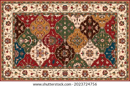 Persian carpet original design, tribal vector texture. Easy to edit and change 16 colors by swatch window.