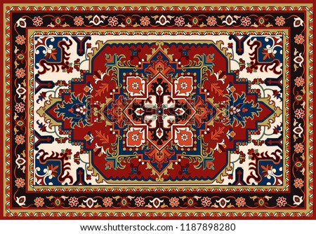Persian carpet, tribal vector texture. Easy to edit and change 24 colors by swatch window. #1187898280