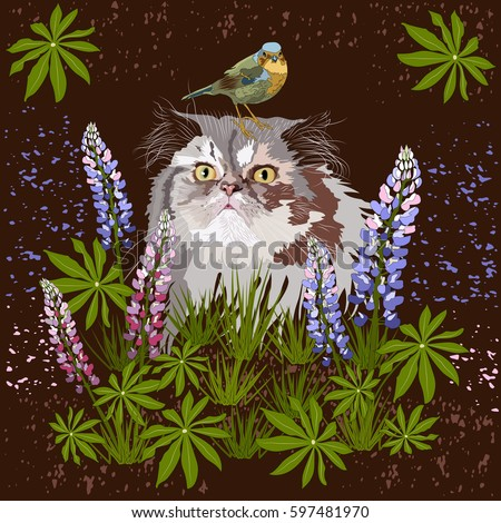 persian cat and small bird