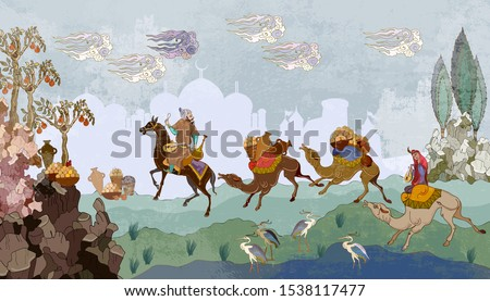 persian frescoes soldiers and