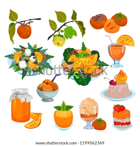 Persimmon vector fresh fruity food salad dessert ice cram jam and sweet fruit of persimmon-tree illustration set of vegetarian nutrition diet fresh juice isolated on white background