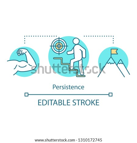 Persistence concept icon. Purposefulness idea thin line illustration. Goal achieving. Aspirations. Career ladder. Achievements. Vector isolated outline drawing. Editable stroke