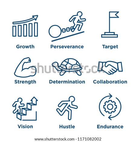 Persistence icon set - image of extreme motivation and drive set on persevering Stock photo ©