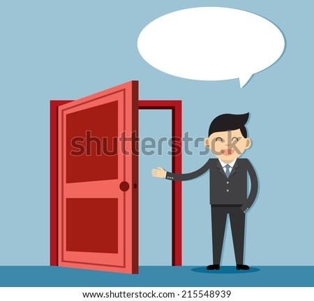 person and a open door. Businessman