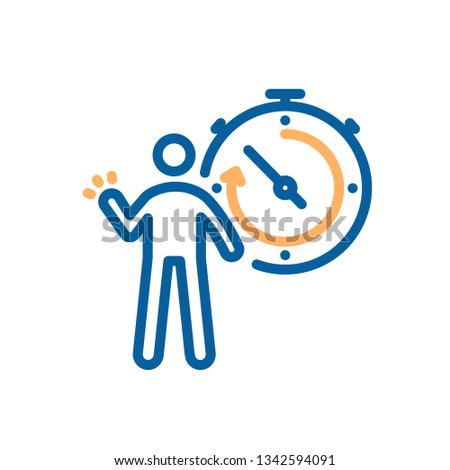 Person and stopwatch icon. Vector illustration for sports, breaking records, competitive concepts, success and motivation, progress, athlete tool, sport time on competitions