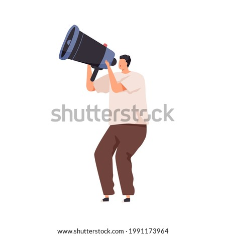 Person announcing important information with megaphone. Invitation, announcement, notification or warning concept. Man speaking with loudspeaker. Flat vector illustration isolated on white background