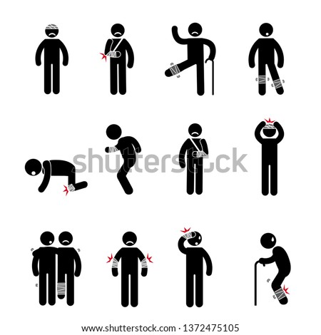 Person basic body language pictogram, symptom sick, sore, stomachache, headache, vomit, backache, broken legs, old. vector illustration