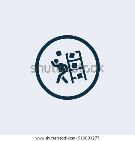 Person being injured by a falling object symbol for download. Vector icons for video, mobile apps, Web sites and print projects.