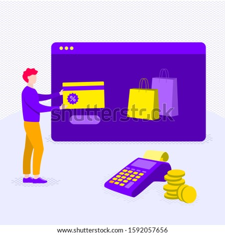 Person buys goods through an online check. Online payment. Vector illustration in shades of violet.