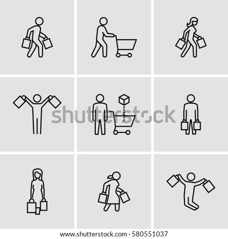 Person carrying shopping bags. Person pushing shopping cart vector icons in thin line style.