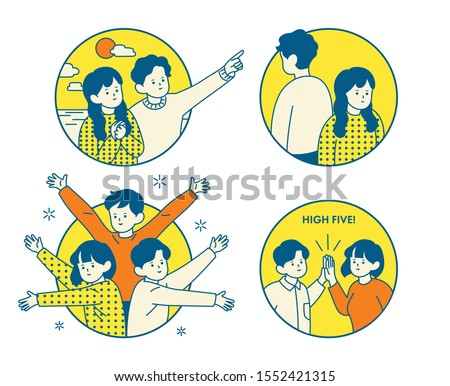 Person character in circle frame. Friends cheering and fighting each other. Simple and cute outline style hand drawn vector design illustrations.