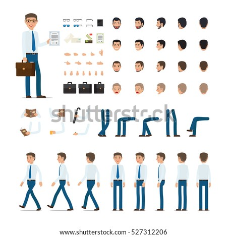 Person creation set. Man with bag and list of paper. Icons with different types of faces, emotions, clothes. Front, side, back view of male person. Moving arms, legs. Glasses. Envelopes. Vector
