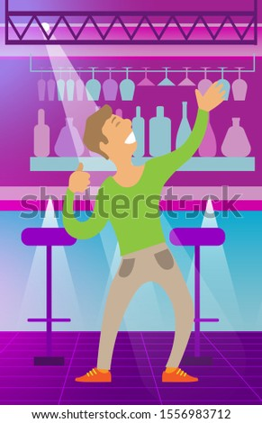 Person dancing in club vector, character with smile on face giving performance. Happy male clubbing and partying, bar with drinks and alcohol bottles