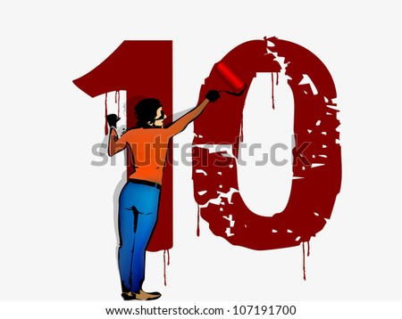 person draws on the wall of the number ten