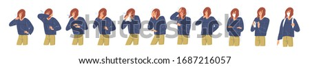 Person during respiratory disease. Girl coughing in arm, elbow, tissue. Virus symptoms: headache, fever, high temperature, body stiffness. Woman in and without face mask. Colorufl vector illustration
