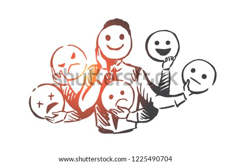 Person, emotions, mask, face, mood concept. Hand drawn person changes different emotions concept sketch. Isolated vector illustration.
