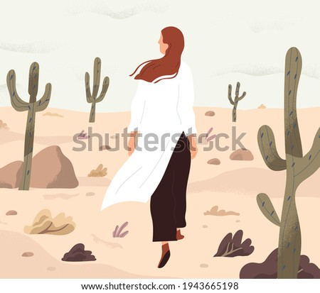 Person feeling lost and alone, wandering in desert. Concept of even boring monotonous life. Woman walking her path in loneliness. Colored flat vector illustration of finding and exploring yourself Foto stock ©