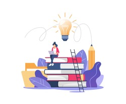 Person gains knowledge for success and better ideas. Education, online courses and business, distance education, online books and study guides, exam preparation, home schooling, vector illustration.