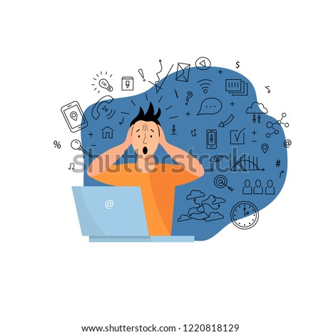 Person get too much information. Information and data overload concept. Mental health concept. Digital information overload. Flat and line design styles.