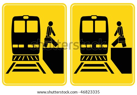 Person gets out of the train, person gets into the train. Set of vector signs. Yellow and black icons.