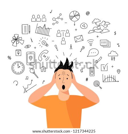 Person gets too much information. Information and data overload concept. Digital information overload. Flat and line design styles.