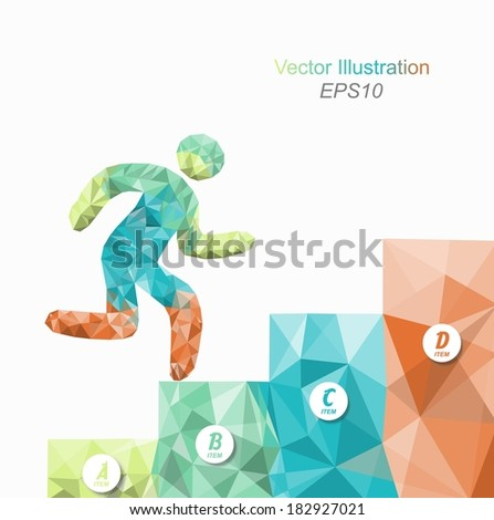 person goes up the stairs / vector illustration / modern style triangle