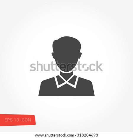 Person, Head, Man, Avatar Isolated Flat Web Mobile Icon / Vector / Sign / Symbol / Button / Element / Silhouette