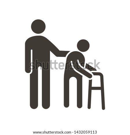 Person helping old patient. Vector flat glyph icon illustration. Nursing home, senior and elders support, healthcare for the older people