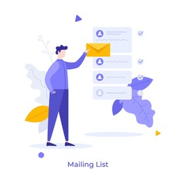 Person holding letter in envelope to send. Concept of mailing list, emails or electronic addresses for communication, correspondence, newsletters. Modern flat colorful vector illustration for banner.