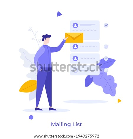 Person holding letter in envelope to send. Concept of mailing list, emails or electronic addresses for communication, correspondence, newsletters. Modern flat colorful vector illustration for banner. Stockfoto ©