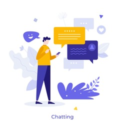 Person holding smartphone and sending messages. Concept of chatting, online messaging, application for internet conversation, digital communication. Modern flat vector illustration for banner, poster.