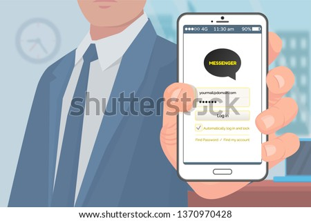 Person holding smartphone with kakao talk vector, korean messenger for people from worldwide. Businessman using application for communication and chat
